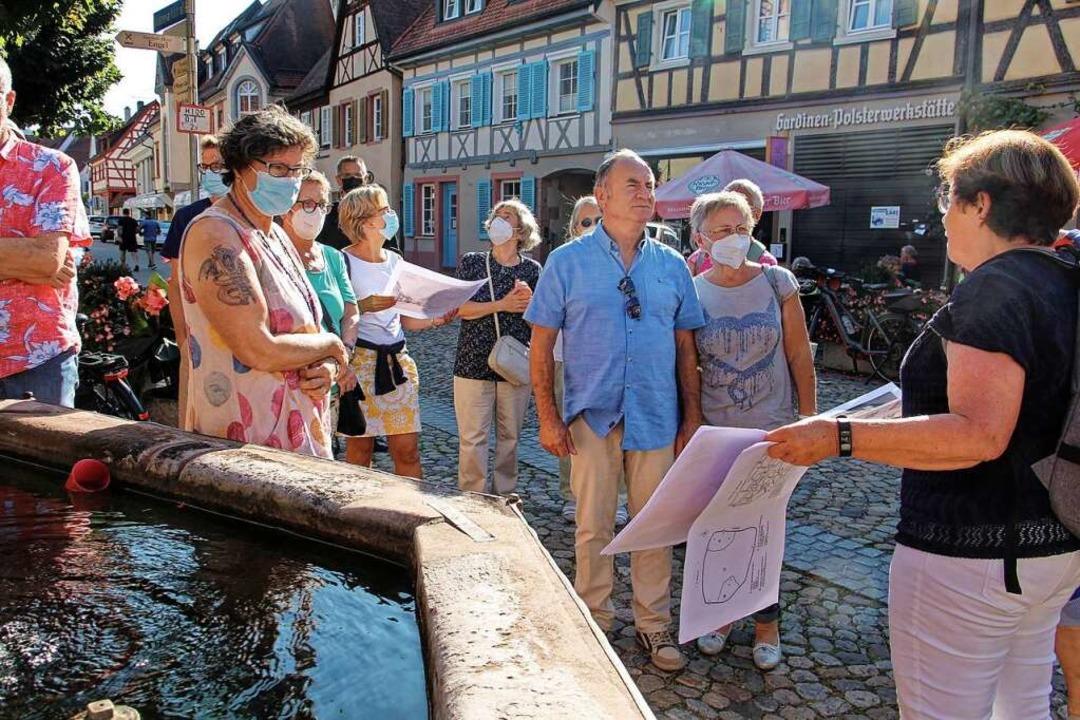 Gerda Kauschat (rechts) erläutert den ...dinger Altstadt über die Jahrhunderte.    Foto: Ruth Seitz
