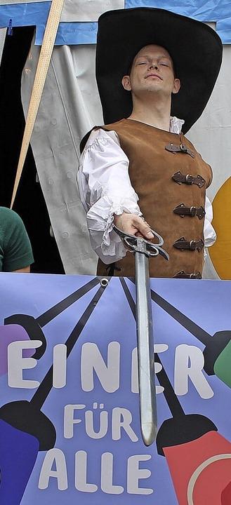Benjamin Wendel spielt den D'Artagnan für Kinder ab acht Jahren.    Foto: Baal
