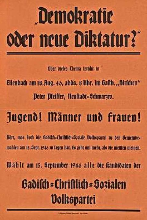 Werbeplakat der späteren CDU zur Gemeindewahl vom 15. September 1946    Foto: bz
