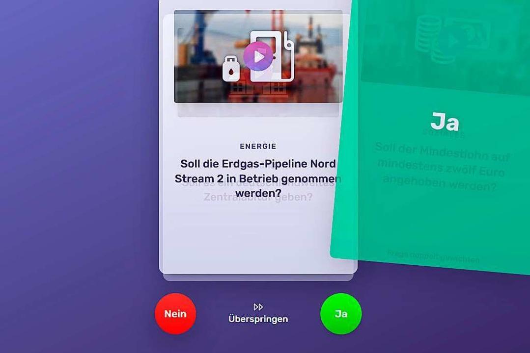 Die App Wahlswiper aus Freiburg will v...che erinnert an die Dating-App Tinder.    Foto: Voteswiper