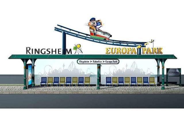 Neue Buswartehalle in Ringsheim für den Transport zum Europa-Park in Rust