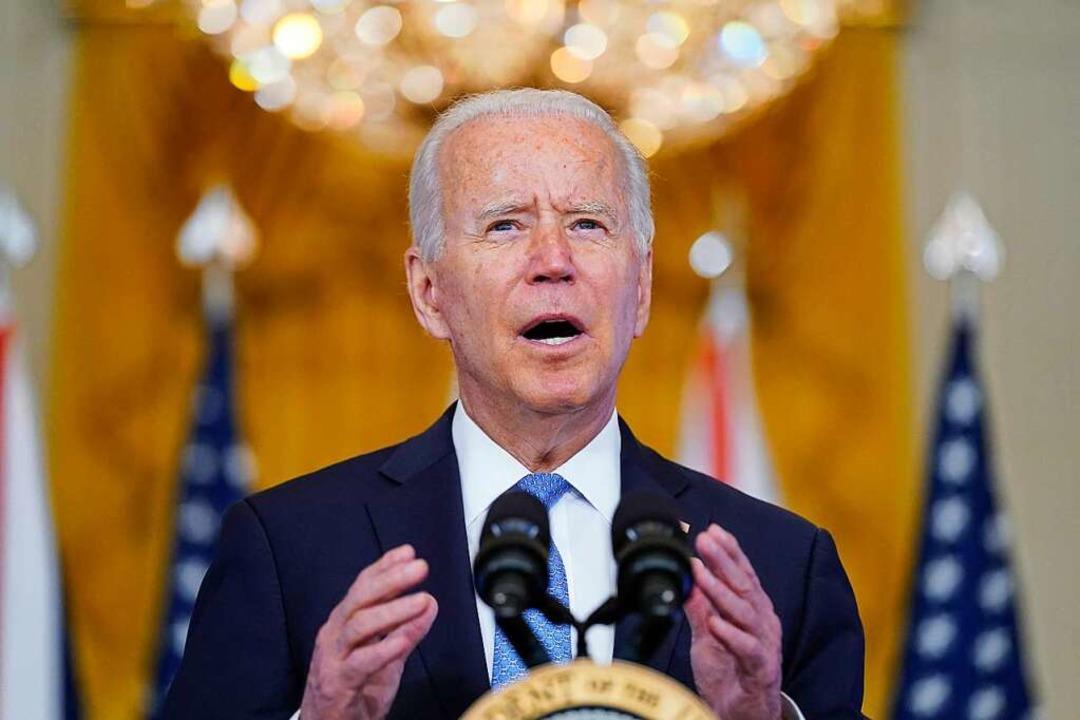 Joe Biden sendet eine Botschaft an China.  | Foto: Andrew Harnik (dpa)