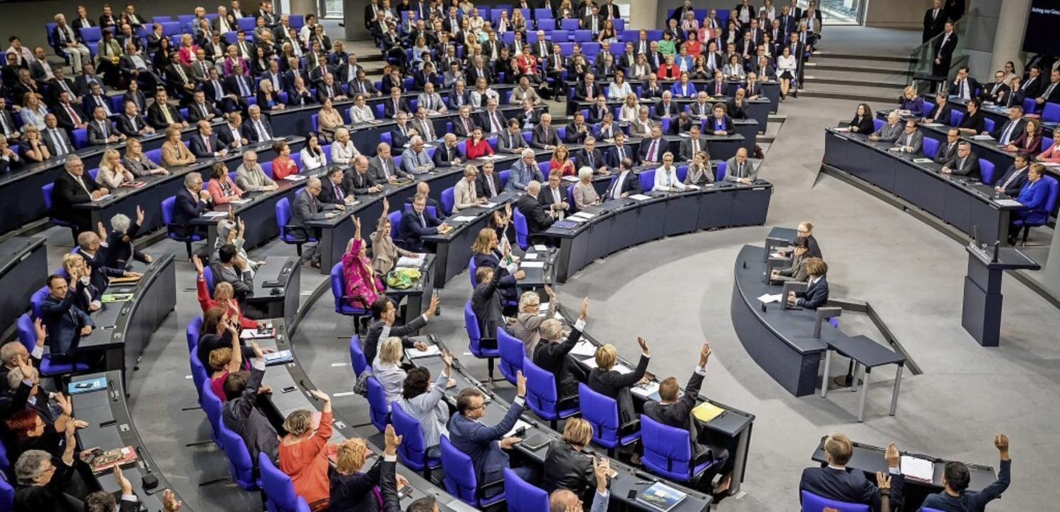 Abstimmung bei einer Plenarsitzung im Bundestag in Berlin.  | Foto: Michael Kappeler
