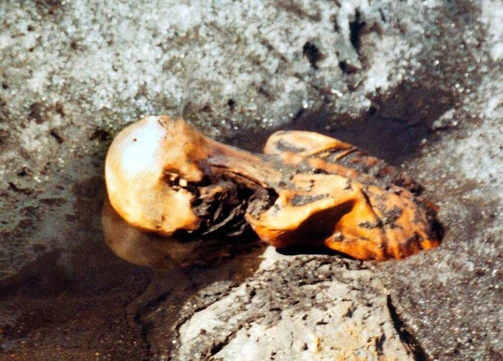 So wurde die Mumie aufgefunden.  | Foto: Helmut Simon (dpa)
