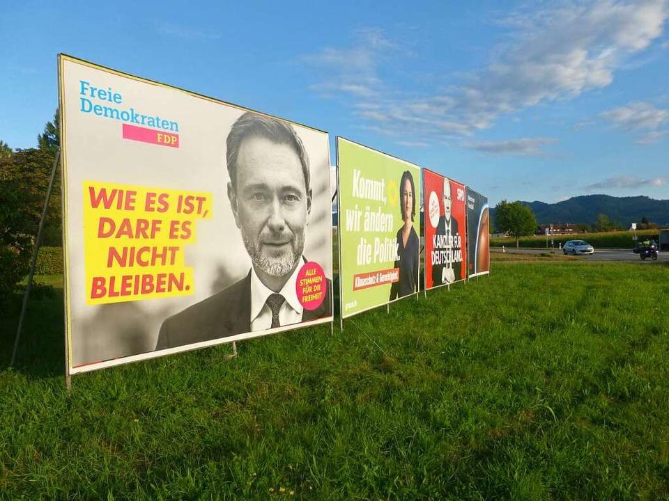 Der Wahlkampf befindet sich auf der Zi...in einer Woche ist die Bundestagswahl.  | Foto: Andrea Gallien