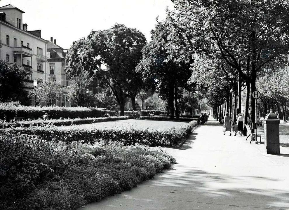 Die Bismarckallee  um 1950 (damals hie...f, daneben die Villa Bismarckallee 16.  | Foto: Stadtarchiv Freiburg