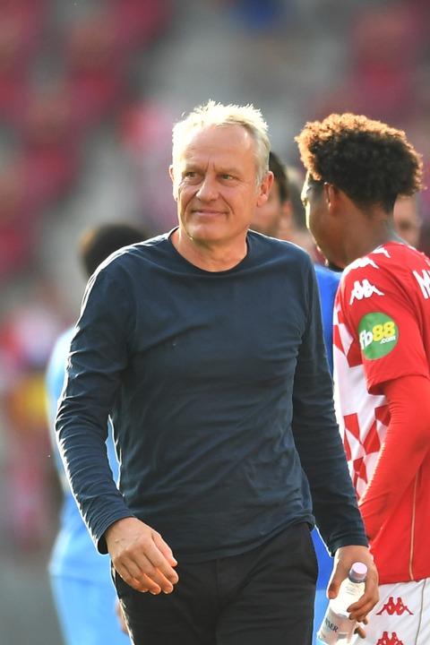 Christian Streich wartete nach dem Match mit einer Selbstgeißelung auf.    Foto: Achim Keller