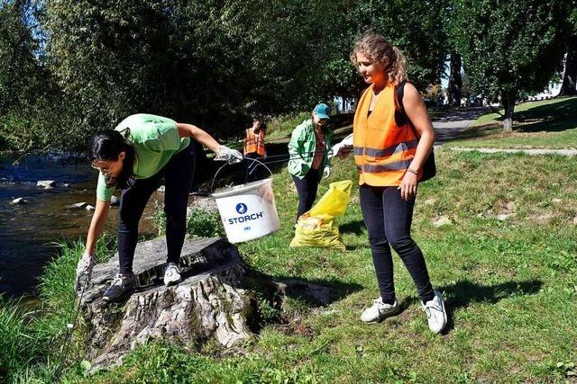 Greenpeace sammelt in Freiburg Müll an der Dreisam