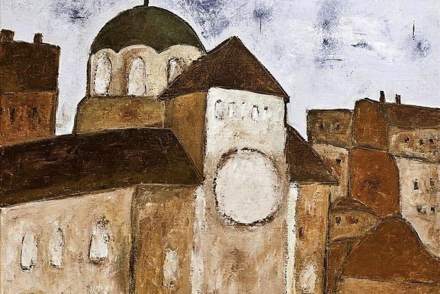 Ein Künstler erstellt Gemälde von zerstörten Synagogen