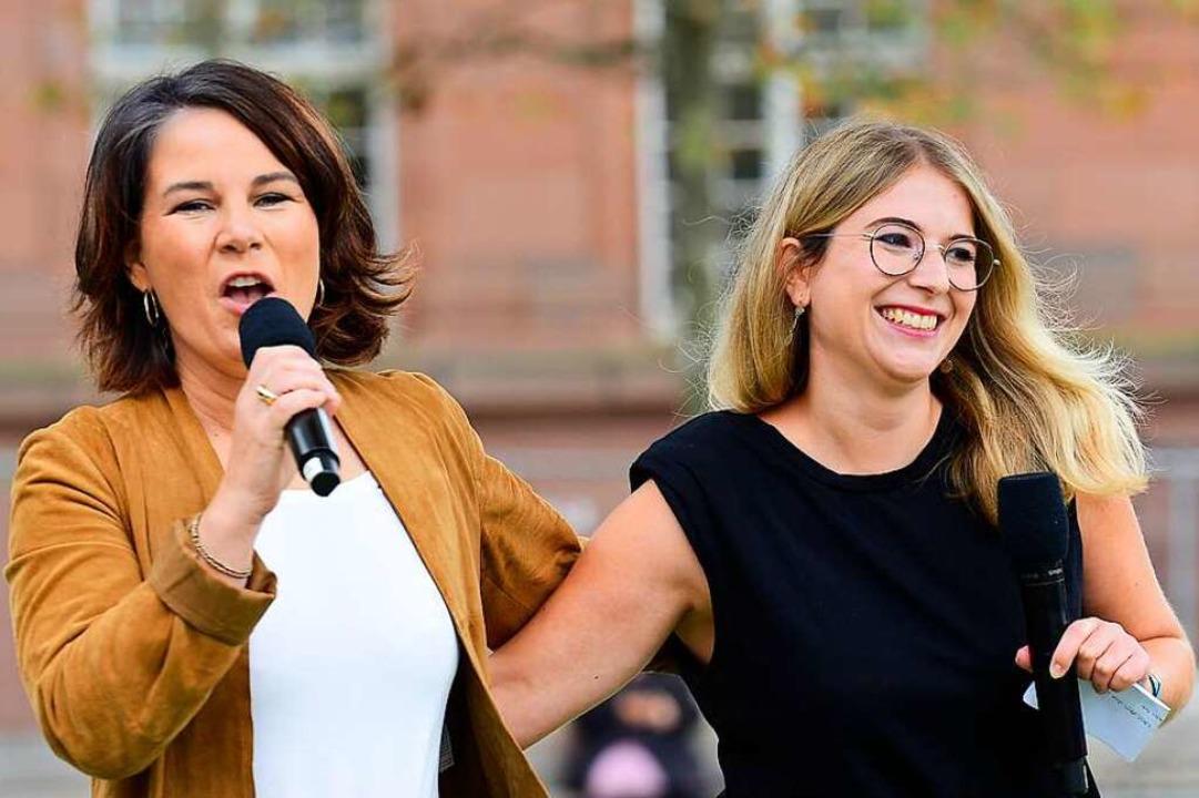 Kanzlerkandidatin Annalena Baerbock un...urger Direktkandidatin Chantal Kopf. .    Foto: Ingo Schneider