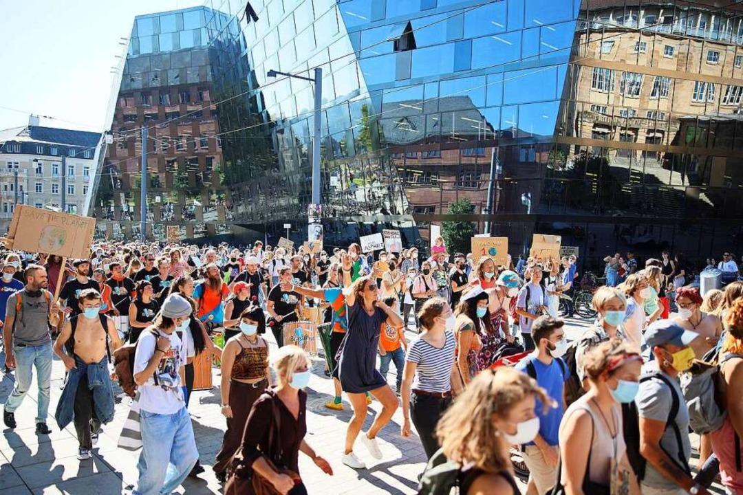 Zehntausende kamen zum Klimastreik in Freiburg.    Foto: Janos Ruf