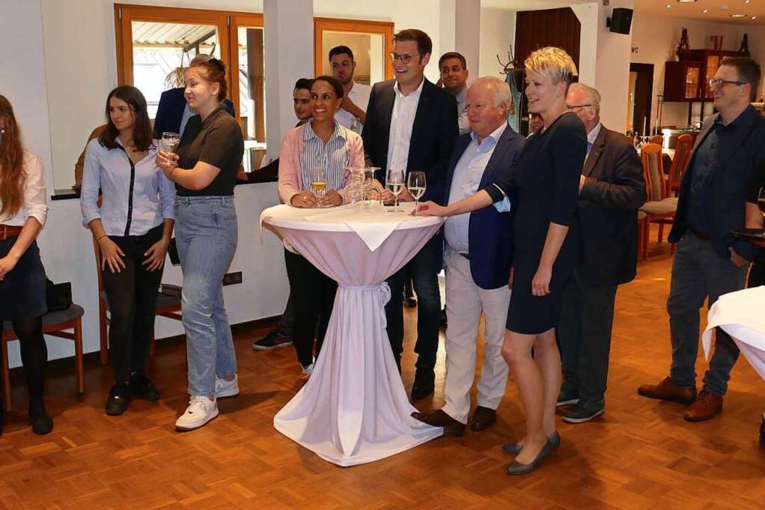 CDU-Gespann Yannick Bury (am Tisch links) und Peter Weiß  | Foto: Micahel Sträter