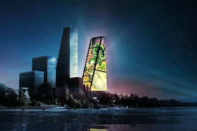 Lichtprojektion auf den Basler Roche-Turm will das Leben feiern