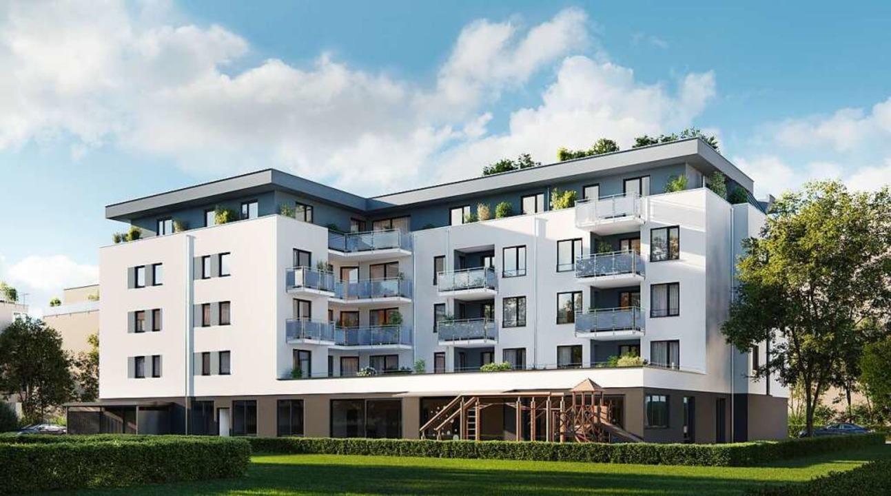 So soll das derzeit entstehende Gebäude  Rehlingstraße 5 einmal aussehen.    Foto: Koch Wohnbau GmbH