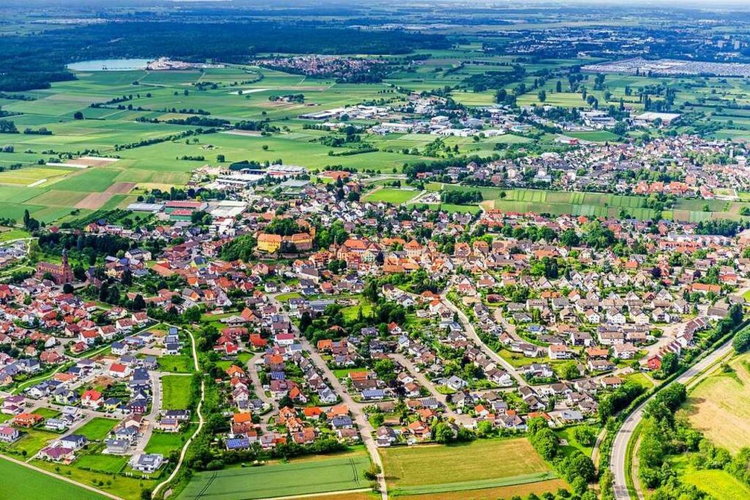 Die Stadt Mahlberg aus der Vogelperspektive   | Foto: Martin Bildstein