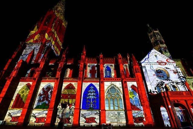 Fotos: Münster-Mapping am Freiburger Wahrzeichen