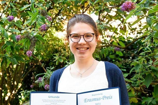 Denzlinger Schülerin Leah Schlenk erhält Erasmus-Preis