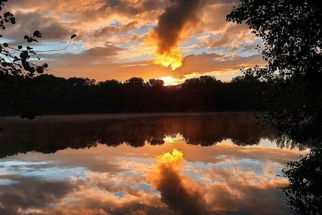 Spektakulärer Sonnenaufgang am Moosweiher