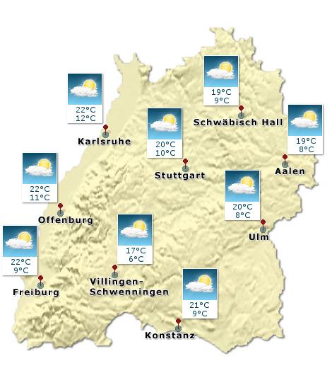 Baden-Württemberg - Wetterkarte - Heute